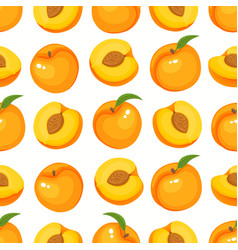 pattern with cartoon peaches isolated on vector image