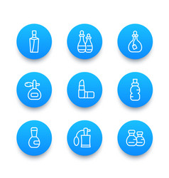Perfume and cosmetic icons linear pictograms vector