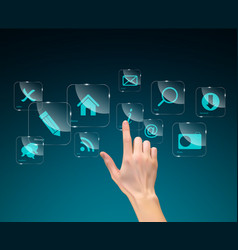 realistic 3d silhouette of hand with inge vector image