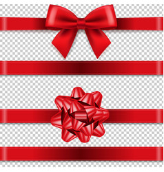 red bows collection isolated transparent vector image