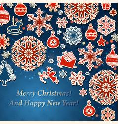 retro christmas decorations background vector image