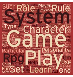 Rpg game system text background wordcloud concept vector
