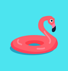 Rubber flamingo ring isolated on blue background vector