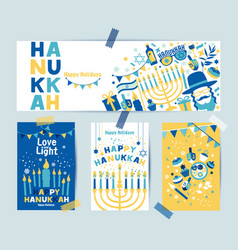 set colors four hanukkah greeting cards and vector image