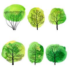 Set of deciduous trees vector