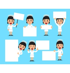 Set of female nurse with blank white banner vector
