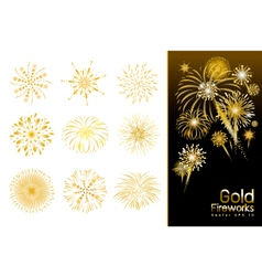 Set of gold fireworks design vector