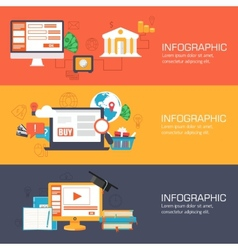 set of web internet technology of business online vector image