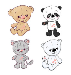 set panda cub kitten teddy bear hare hand drawing vector image