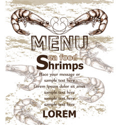 Shrimps sea food menu template line art vector