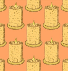 Sketch cute candle in vintage style vector image