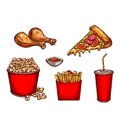 sketch icons fast food snacks and drinks vector image