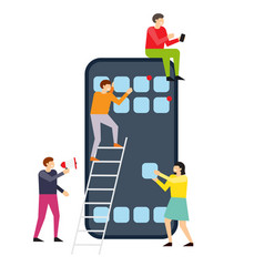 Small people creating interface on smartphone vector
