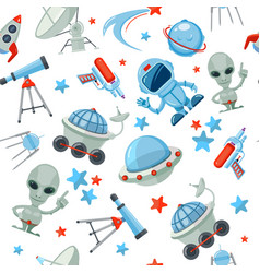 Space seamless pattern astronaut alien ufo ship vector