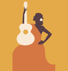 Spanish woman with guitar symbolic image of spain vector
