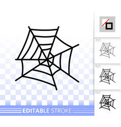 spiderweb simple web black line cobweb icon vector image
