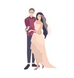 Stylish romantic couple posing during wedding vector