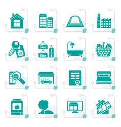 stylized real estate objects and icons vector image