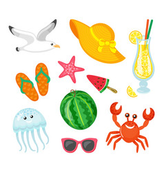 summer journey elements seafood and accessories vector image