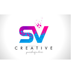 sv s v letter logo with shattered broken blue vector image