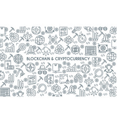 thin line design cryptocurrency banner vector image