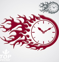 Time is out concept clock with burning fire Eps 8 vector