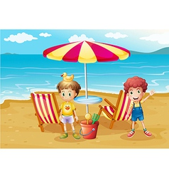 Two boys at the beach near the umbrella and chairs vector