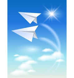 Two paper airplane vector image