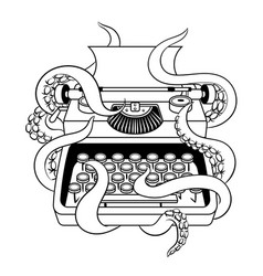 typewriter with octopus coloring book vector image