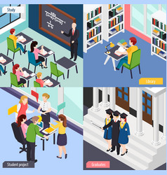 University students isometric concept vector