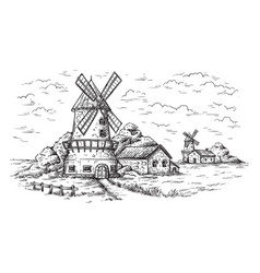 village near a wheat field and a windmill drawn vector image
