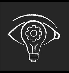 Vision chalk white icon on black background vector