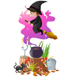 witch with magic broom and brew vector image
