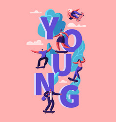 young hipster people skating skateboard poster vector image
