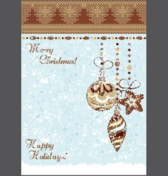 christmas vintage baubles background vector image vector image