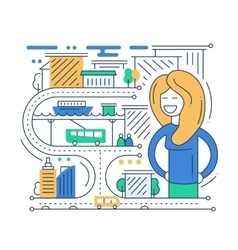 City life - line design composition vector