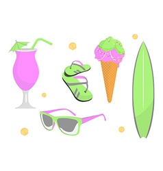 collection of beach and summer elements vector image vector image