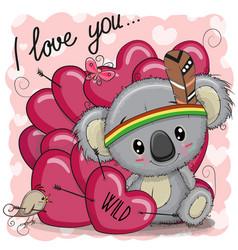 cute cartoon tribal koala with hearts vector image vector image