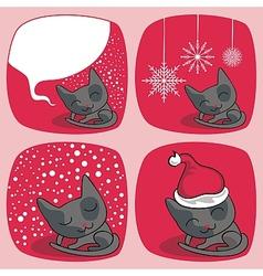 Cute Christmas Cats Set vector image