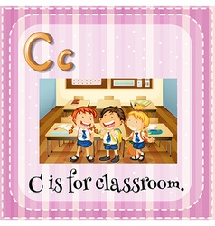 Flashcard letter C is for classroom vector image vector image