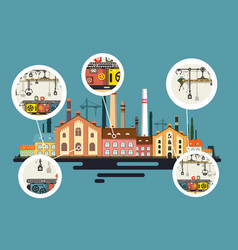 old factory with chimney stacks industrial flat vector image