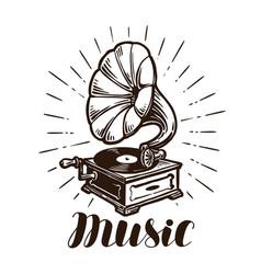 Retro gramophone music concept vintage sketch vector