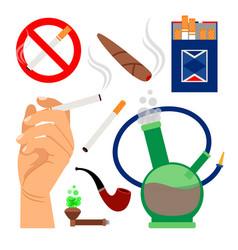 smoking tobacco icons set vector image