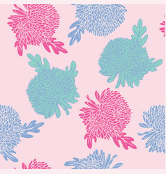 Pattern with hand drawn chrysanthemums flowers vector