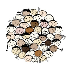 Crowd of funny peoples sketch for your design vector image vector image
