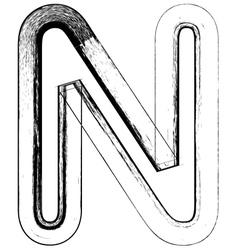 Grunge Font letter N vector image vector image