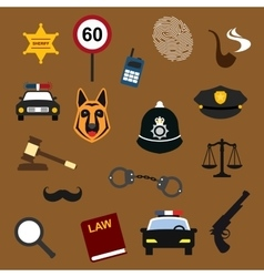 Police law and justice flat icons set vector image vector image