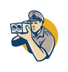 policeman with police speed camera retro vector image vector image