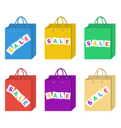 Sale shopping bag set in six different colors set vector