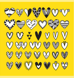 set of cute hand drawn doodle hearts set of vector image